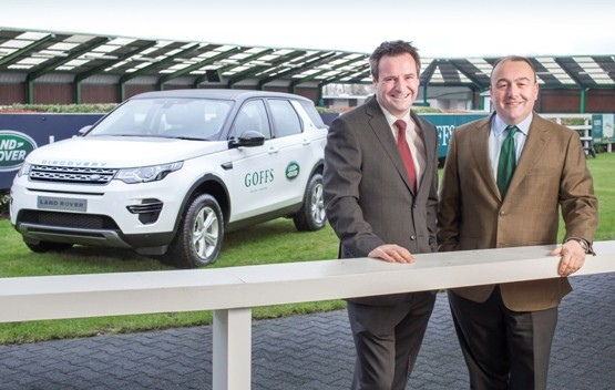 Eddie Kavanagh General Manager of Land Rover Ireland with Nick Nugent Director of Sales at Goffs launching the Vendor Prize for the 2015 Goffs Land Rover Sale, The New Discovery Sport .